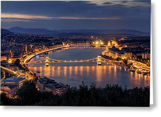 Panorama Of Budapest Greeting Card by Thomas D M?rkeberg