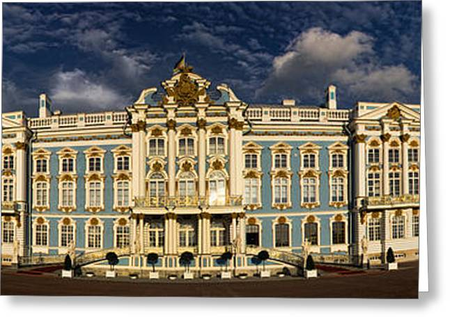 Built Greeting Cards - Panorama of Catherine Palace Greeting Card by David Smith