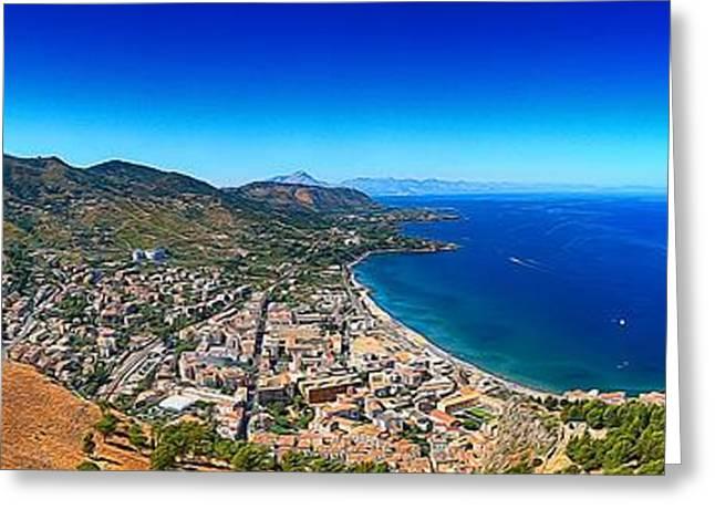 Mediterranean Landscape Digital Art Greeting Cards - Panorama of Cefalu Greeting Card by Stefano Senise
