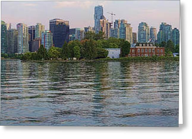 Panorama Of Coal Harbour And Vancouver Skyline At Dusk Greeting Card by David Smith