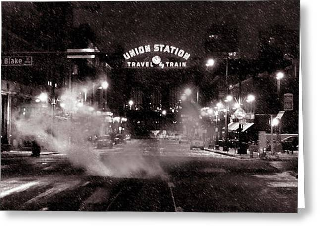 Panorama Of Denver Union Station During Snow Storm Greeting Card by Ken Smith