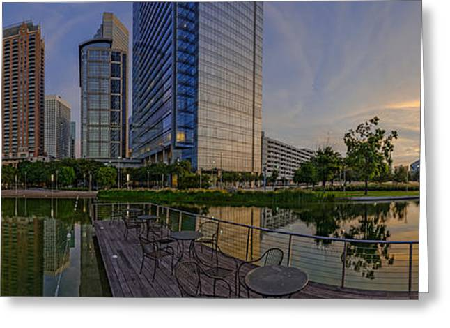 Inauguration Greeting Cards - Panorama of Discovery Green - Downtown Houston Texas Greeting Card by Silvio Ligutti