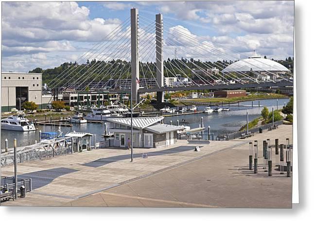 Repair Facility Greeting Cards - Panorama of Dock Street marina Tacoma Washington. Greeting Card by Gino Rigucci