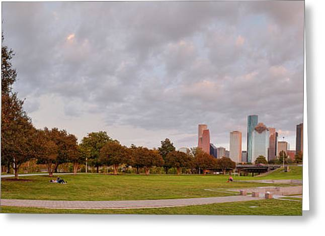 Police Art Greeting Cards - Panorama of Downtown Houston and Police Memorial - Houston Texas Greeting Card by Silvio Ligutti