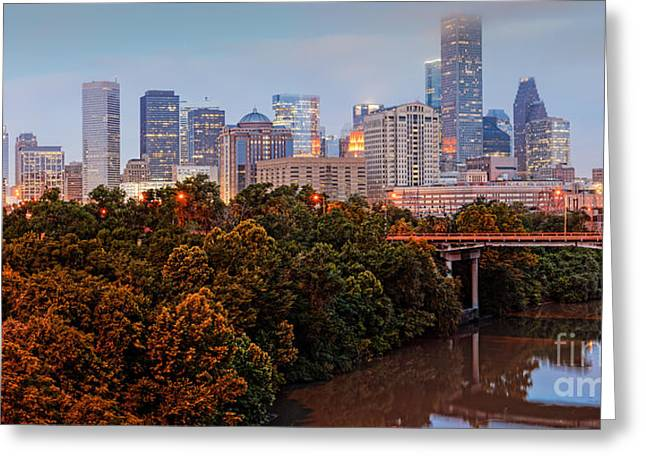 Tree. Sycamore Greeting Cards - Panorama of Downtown Houston at Dawn - Texas Greeting Card by Silvio Ligutti