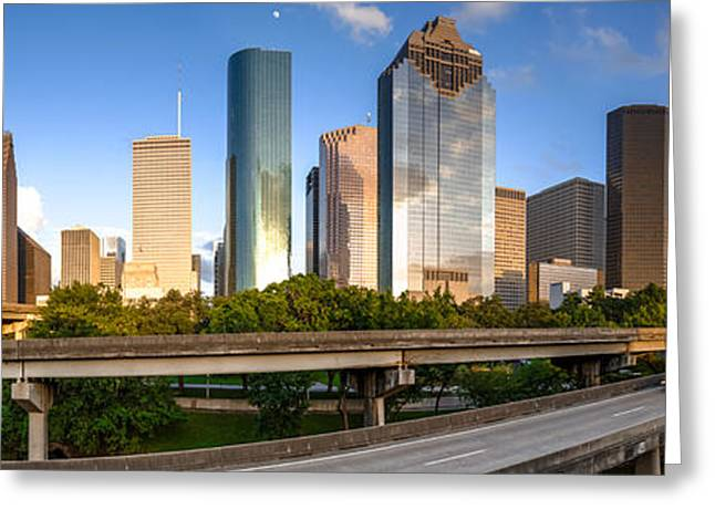 Bank Of America Greeting Cards - Panorama of Downtown Houston from a secret location - Houston Texas Greeting Card by Silvio Ligutti