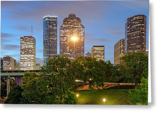 Bald Cypress Greeting Cards - Panorama of Downtown Houston Skyline from Sabine St. Bridge - Houston Texas Greeting Card by Silvio Ligutti