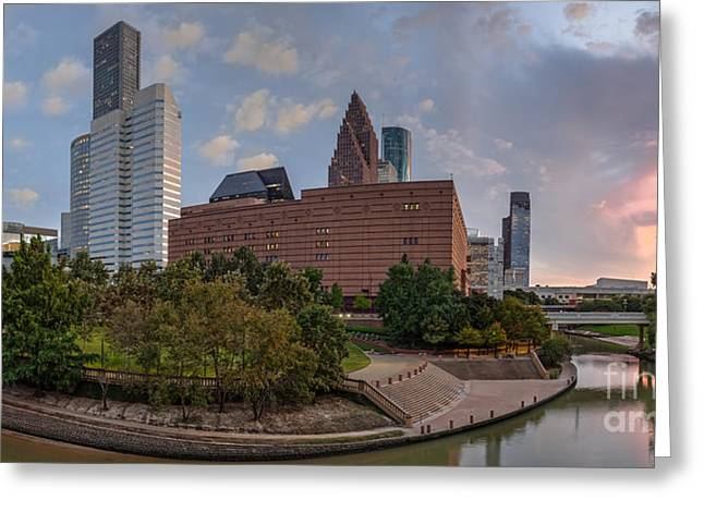 Bald Cypress Greeting Cards - Panorama of Downtown Houston Skyline Theater District - Houston Texas Greeting Card by Silvio Ligutti