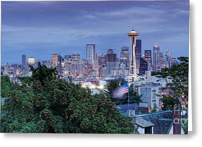 Bainbridge Island Greeting Cards - Panorama of Downtown Seattle and Space Needle from Kerry Park at Dusk - Seattle Washington State Greeting Card by Silvio Ligutti