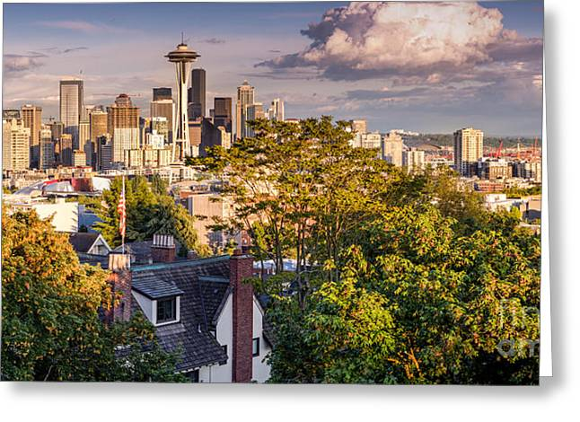 Bainbridge Island Greeting Cards - Panorama of Downtown Seattle and Space Needle from Kerry Park - Seattle Washington State Greeting Card by Silvio Ligutti