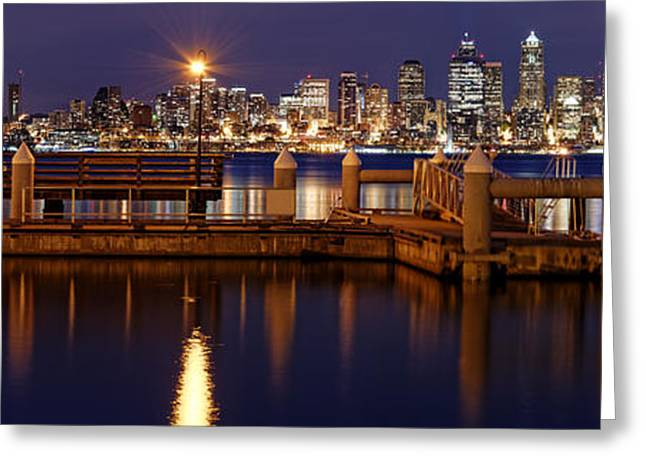 Panoramic Ocean Greeting Cards - Panorama of Downtown Seattle from Alki Beach - West Seattle Seacrest Park Washington State Greeting Card by Silvio Ligutti