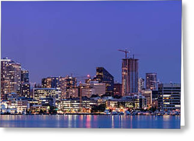 Panorama Of Downtown Seattle From Gasworks Park At Twilight Seattle - Washington Greeting Card by Silvio Ligutti