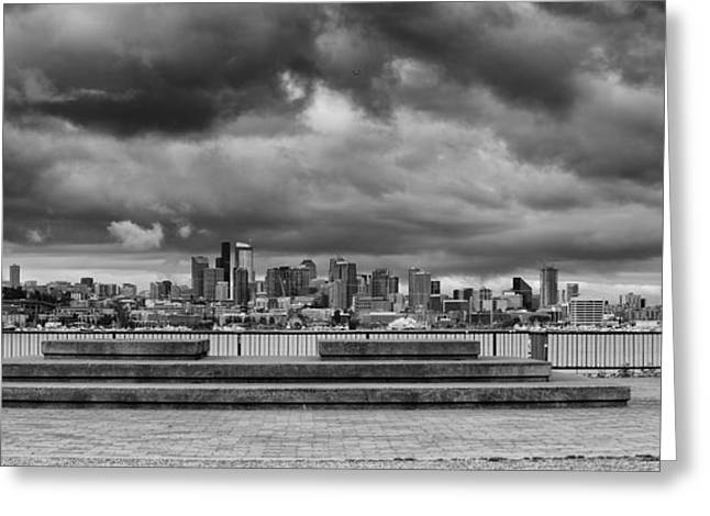 Medical Greeting Cards - Panorama of Downtown Seattle from GasWorks Park Seattle Black and White - Washington Greeting Card by Silvio Ligutti