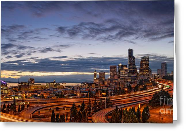 Medical Greeting Cards - Panorama of Downtown Seattle from Jose Rizal Park - Seattle Washington Greeting Card by Silvio Ligutti