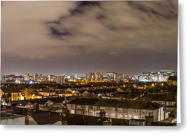 Panorama Of Dublin Quays Skyline Greeting Card by Semmick Photo