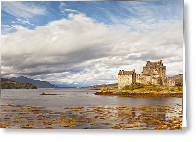 Fortification Greeting Cards - Panorama of Eilean Donan Castle Scotland Greeting Card by Colin and Linda McKie
