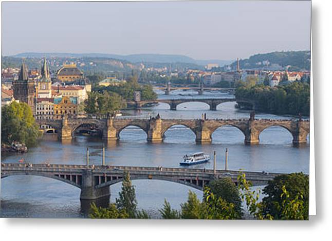 Nicholas Greeting Cards - Panorama of five bridges Greeting Card by Yury Maselov