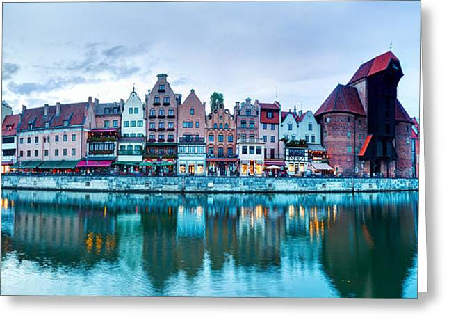 Polish Culture Greeting Cards - Panorama of Gdansk old town and Motlawa river Poland Greeting Card by Michal Bednarek