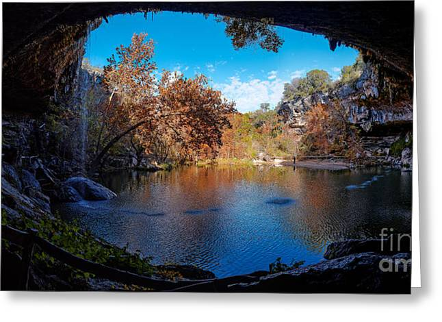 Hamilton Pool Greeting Cards - Panorama of Hamilton Pool in the Fall - Austin Texas Hill Country Greeting Card by Silvio Ligutti