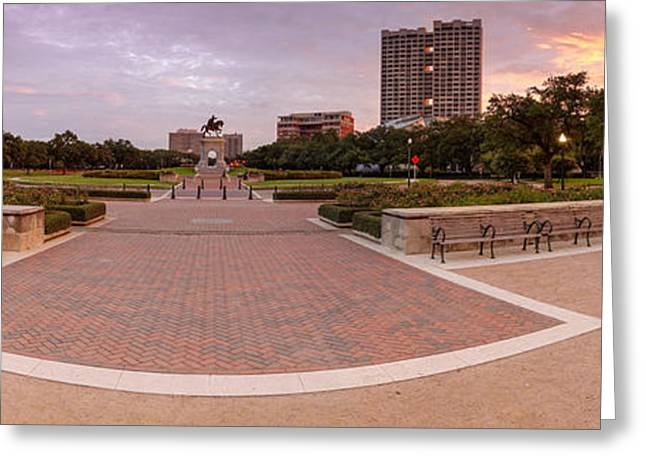 Main Street Greeting Cards - Panorama of Hermann Park with Sam Houston Statue at Sunrise - Museum District Houston Texas Greeting Card by Silvio Ligutti