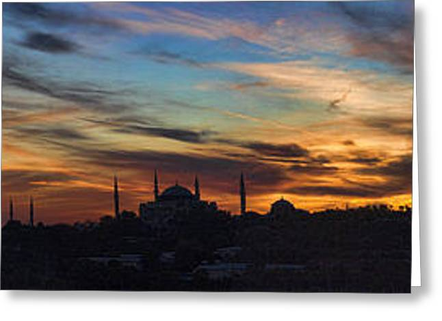 Historic Site Greeting Cards - Panorama of Istanbul Sunset- Call to Prayer Greeting Card by David Smith