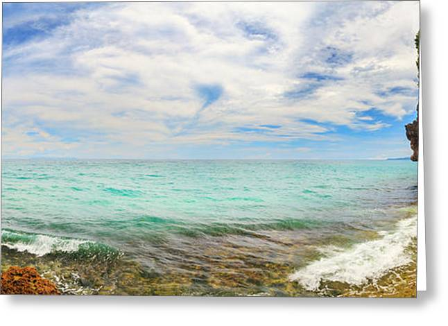 Ocean Panorama Greeting Cards - Panorama of  lagoon.  Greeting Card by MotHaiBaPhoto Prints