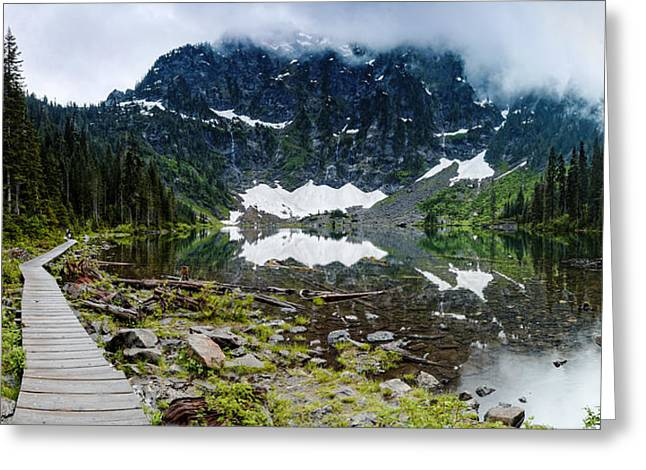 Red Cedar Greeting Cards - Panorama of Lake 22 and Mount Pilchuck - Cascades Washington State Greeting Card by Silvio Ligutti