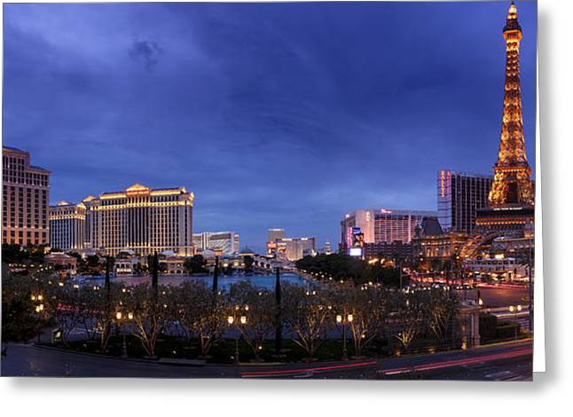 Caesars Palace Greeting Cards - Panorama of Las Vegas Greeting Card by Silvio Ligutti