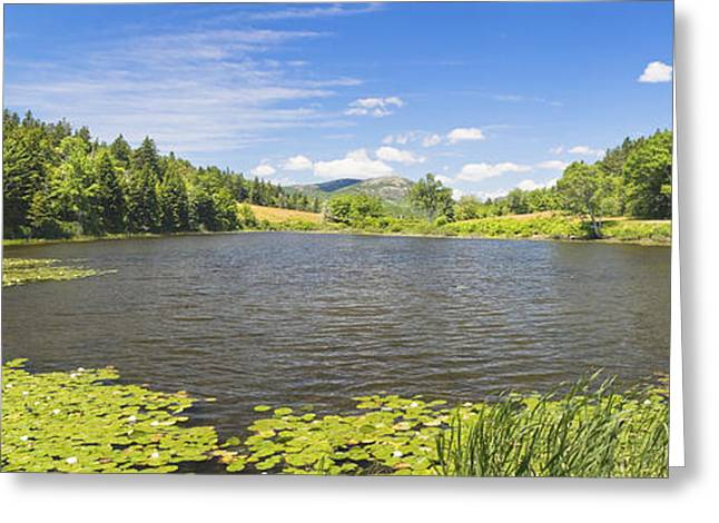 Acadia National Park Greeting Cards - panorama of Long Pond In Summer Acadia National Park Photograph Greeting Card by Keith Webber Jr