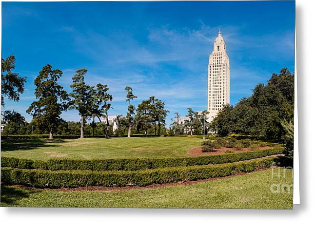 Arsenal Greeting Cards - Panorama of Louisiana State Capitol Building and Gardens - Baton Rouge Greeting Card by Silvio Ligutti