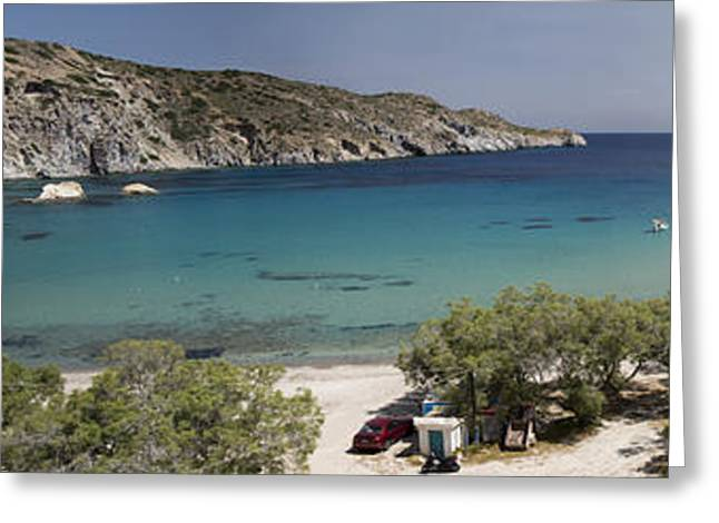 Topaz Greeting Cards - Panorama of Mandrakia Fishing Village Milos Greece Greeting Card by David Smith