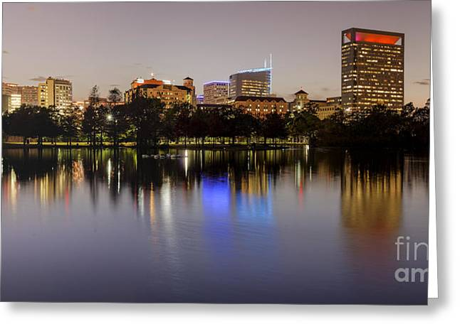 Panorama Of Mcgovern Lake And Texas Medical Center At Twilight- Hermann Park Houston Texas Greeting Card by Silvio Ligutti