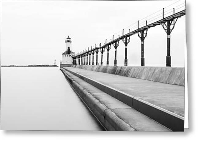 Black And White Photos Greeting Cards - Panorama of Michigan City Lighthouse Black and White Photo Greeting Card by Paul Velgos