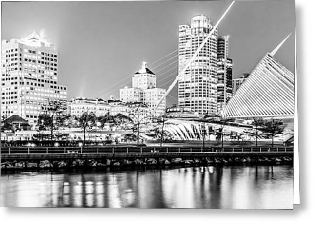 Milwaukee Art Museum Greeting Cards - Panorama of Milwaukee Skyline at Night in Black and White Greeting Card by Paul Velgos