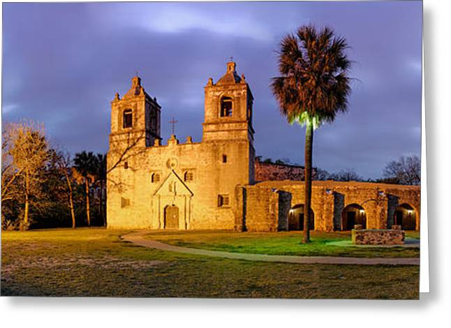 Historical Buildings Greeting Cards - Panorama of Mission Concepcion at Dusk - San Antonio Texas Greeting Card by Silvio Ligutti