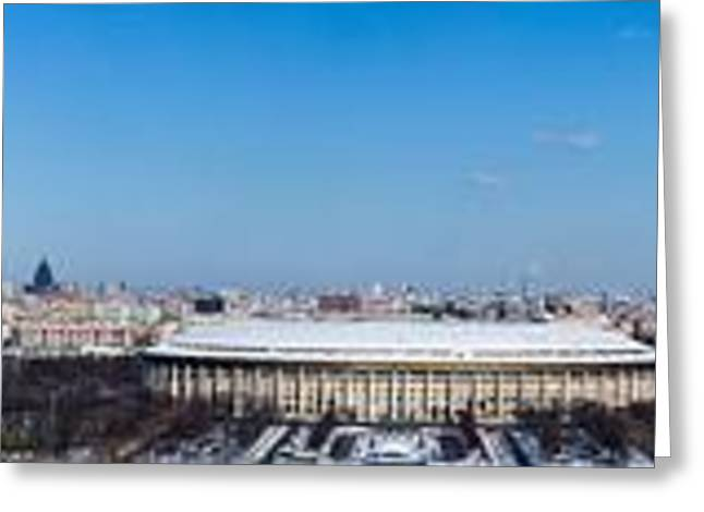Panorama Of Moscow From Sparrow Hills - Featured 3 Greeting Card by Alexander Senin
