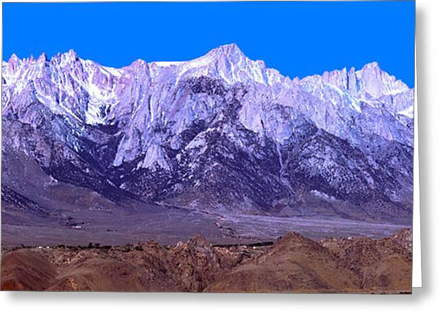 Mount Whitney Greeting Cards - Panorama Of Mount Whitney Greeting Card by David Salter