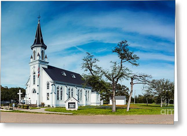 Religious Art Photographs Greeting Cards - Panorama of Sts. Cyril and Methodius Catholic Church - Dubina Texas Greeting Card by Silvio Ligutti