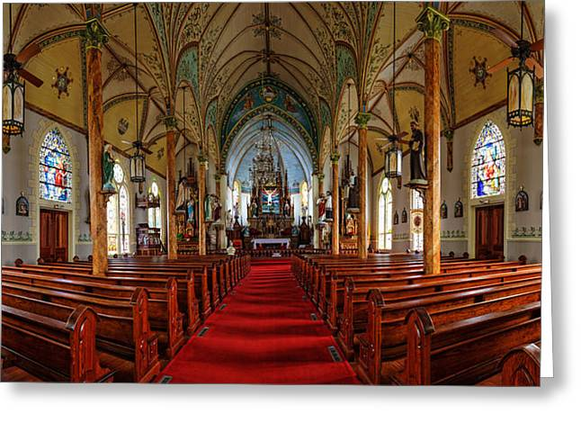 Religious Art Photographs Greeting Cards - Panorama of Nativity of Mary Painted Church in High Hill Texas Greeting Card by Silvio Ligutti