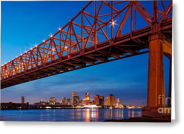 Panorama Of New Orleans And Crescent City Connection From Gretna At Dusk - Louisiana Greeting Card by Silvio Ligutti