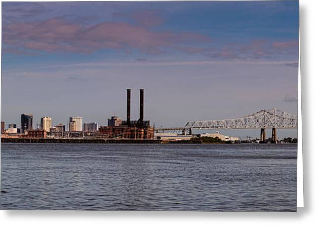 Gumbo Greeting Cards - Panorama of New Orleans and Crescent City Connection from Gretna - Louisiana Greeting Card by Silvio Ligutti