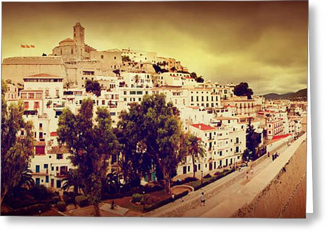 Ibiza Greeting Cards - Panorama of old city of Ibiza Spain Greeting Card by Michal Bednarek