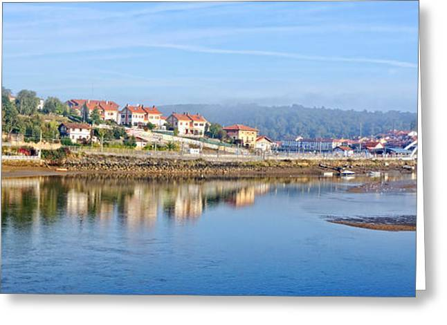 Reflectio Greeting Cards - Panorama of Plentzia with water reflections Greeting Card by Mikel Martinez de Osaba