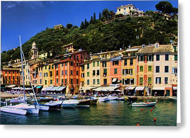 Portofino Italy Photographs Greeting Cards - Panorama of Portofino Harbour Italian Riviera Greeting Card by David Smith