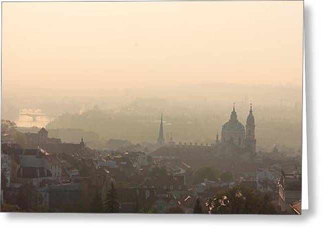 Nicholas Greeting Cards - Panorama of Prague Greeting Card by Yury Maselov
