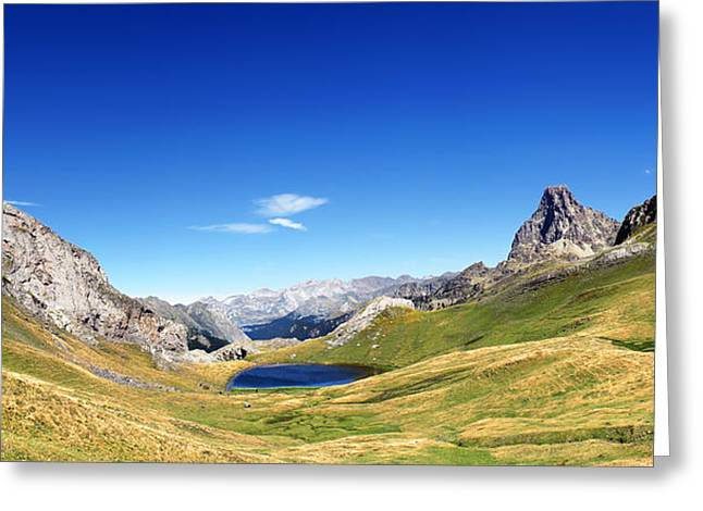 Midi Greeting Cards - Panorama Of Pyrenees With A Lake Greeting Card by Mikel Martinez de Osaba