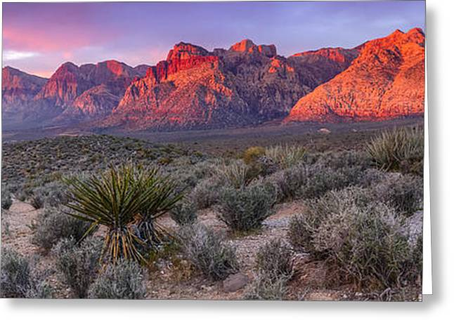 Panorama Of Rainbow Wilderness Red Rock Canyon - Las Vegas Nevada Greeting Card by Silvio Ligutti