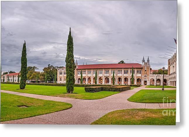 Byzantine Greeting Cards - Panorama of Rice University Academic Quad II - Houston Texas Greeting Card by Silvio Ligutti