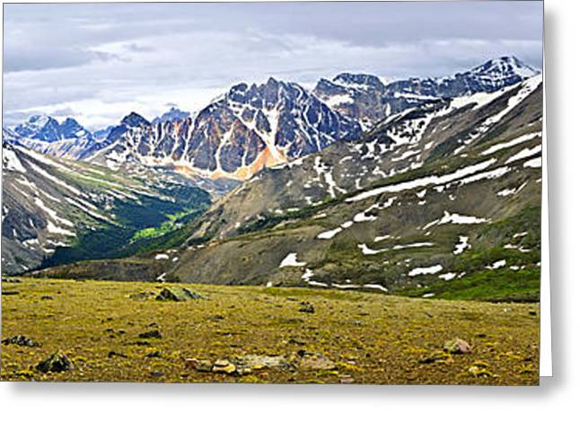 Panorama Of Rocky Mountains In Jasper National Park Greeting Card by Elena Elisseeva