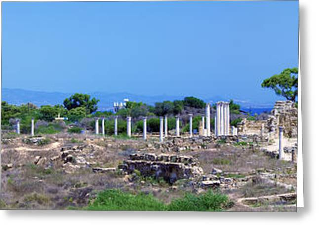 Greek Sculpture Greeting Cards - Panorama of Ruins of Salamis near Famagusta Greeting Card by Rostislav Ageev